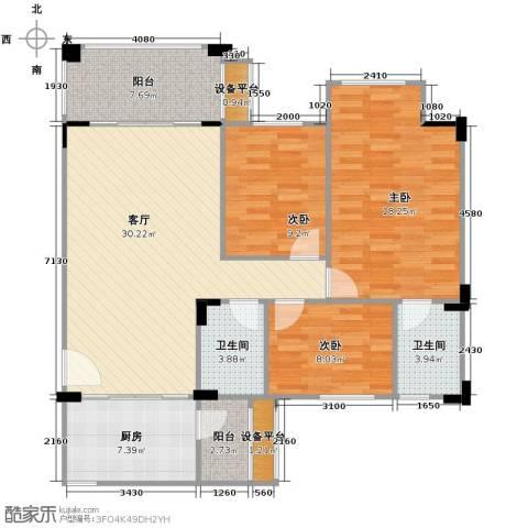 南沙碧桂园3室1厅2卫1厨127.00㎡户型图