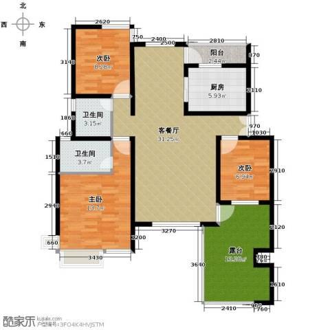 首创隽府3室1厅2卫1厨127.00㎡户型图