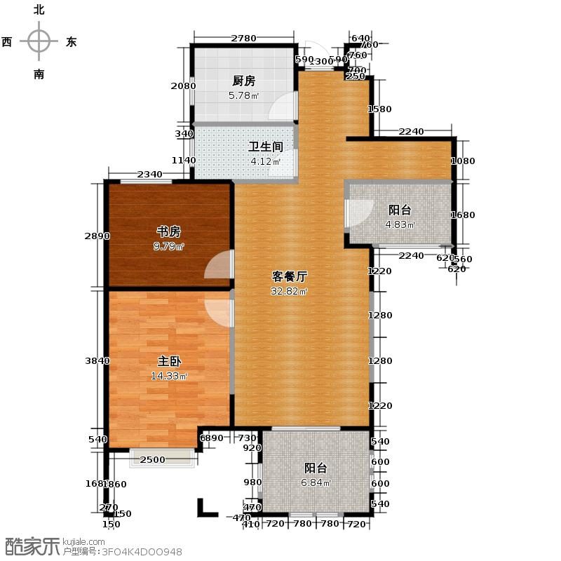 金地自在城88.48㎡鹭影洲13-16#D-1a户型2室1厅1卫1厨
