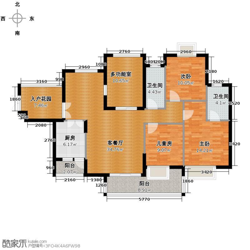 虹祥花郡131.70㎡二期B1#/B3#-B户型3室1厅2卫1厨