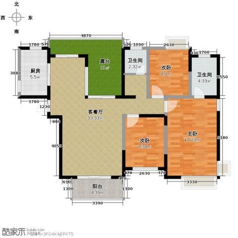 首创隽府3室1厅2卫1厨141.00㎡户型图