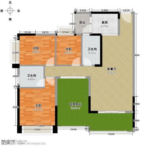 中惠金士柏山3室1厅2卫1厨138.00㎡户型图