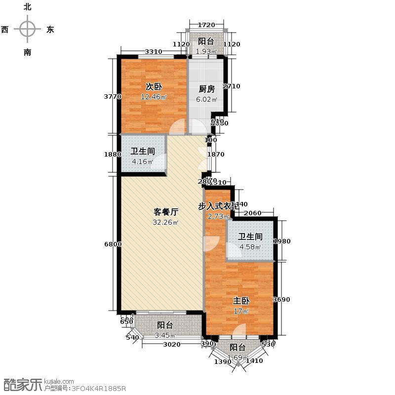 世纪东方城105.91㎡6#楼2单元D户型2室1厅2卫1厨