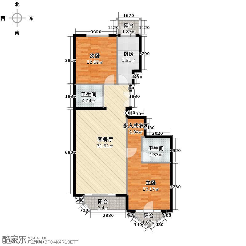 世纪东方城106.10㎡6#楼3单元D户型2室1厅2卫1厨