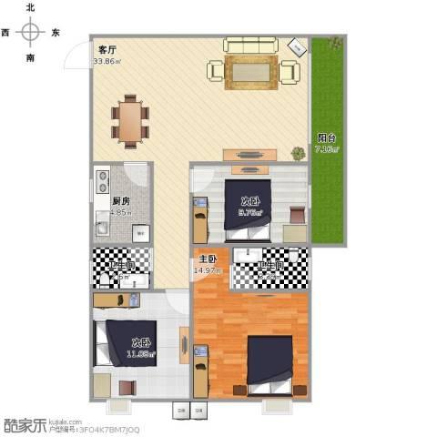 心中公寓3室1厅2卫1厨118.00㎡户型图