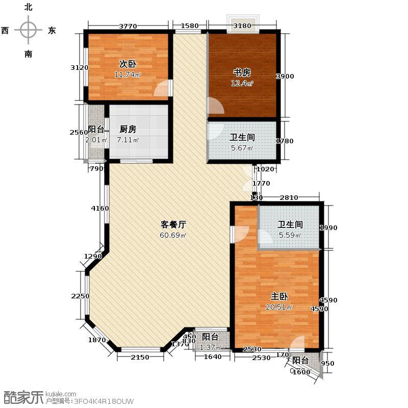 世纪东方城165.62㎡6#楼5单元B户型3室1厅2卫1厨