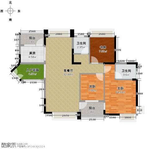 中惠金士柏山3室1厅2卫1厨119.00㎡户型图