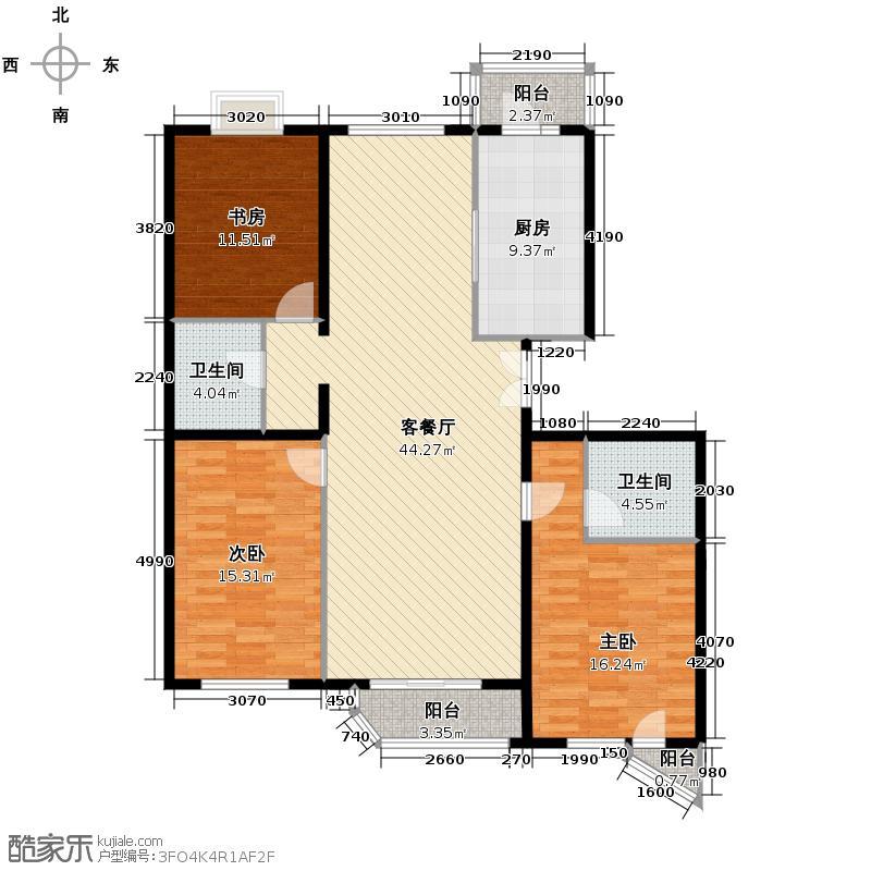 世纪东方城141.42㎡6#楼4单元A户型3室1厅2卫1厨