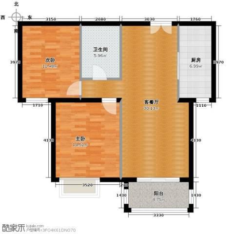 银丰花园2室1厅1卫1厨108.00㎡户型图