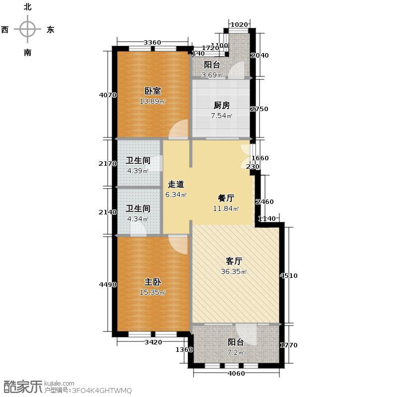 群力玫瑰湾76.14㎡D14-D15户型1室1厅2卫1厨
