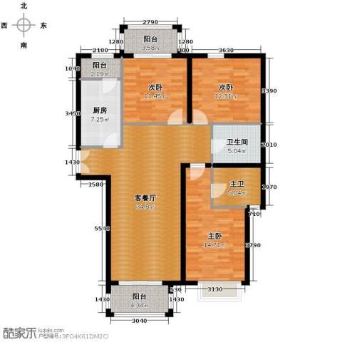 银丰花园3室1厅1卫1厨148.00㎡户型图