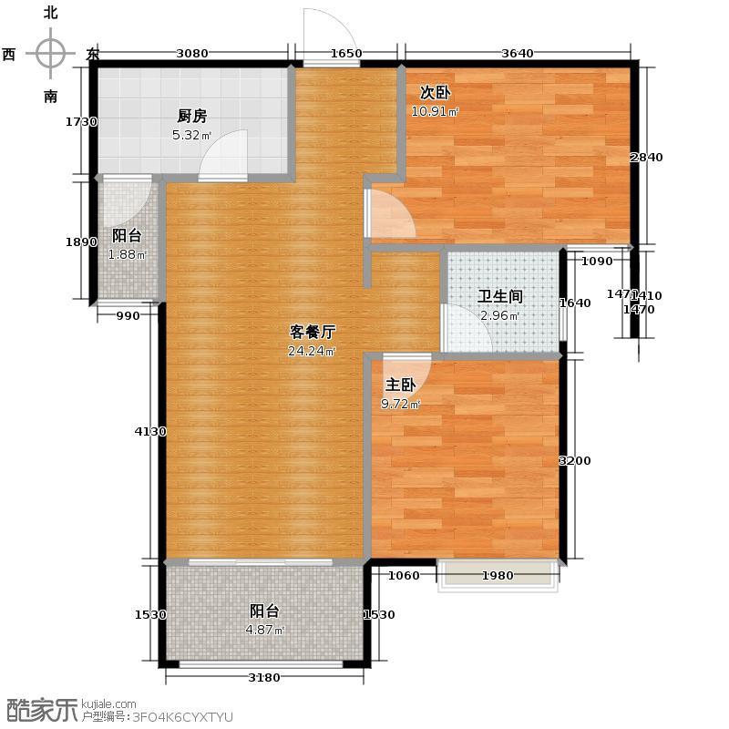 中海原山80.00㎡E1户型2室2厅1卫