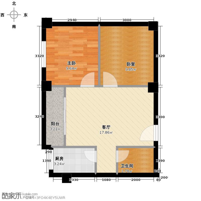 京华城怡景苑52.87㎡600x60户型1室1厅1卫1厨