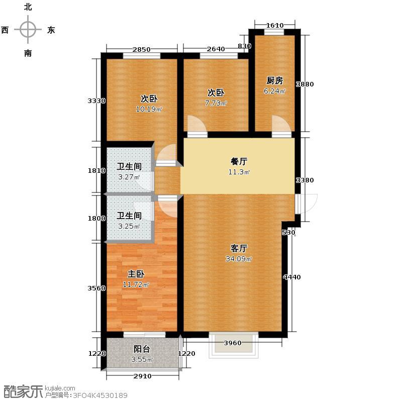 汇锦城120.29㎡怡景湾3#K户型3室1厅2卫1厨