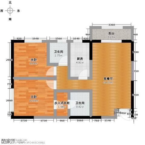 金色梧桐2室2厅2卫0厨91.00㎡户型图