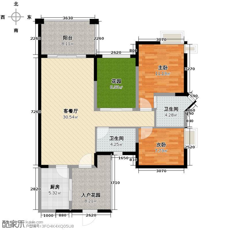 蓝光富丽东方78.50㎡一栋F2-1偶数层户型2室1厅2卫1厨