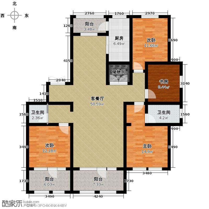 群力玫瑰湾119.20㎡D01-D02户型4室1厅2卫1厨