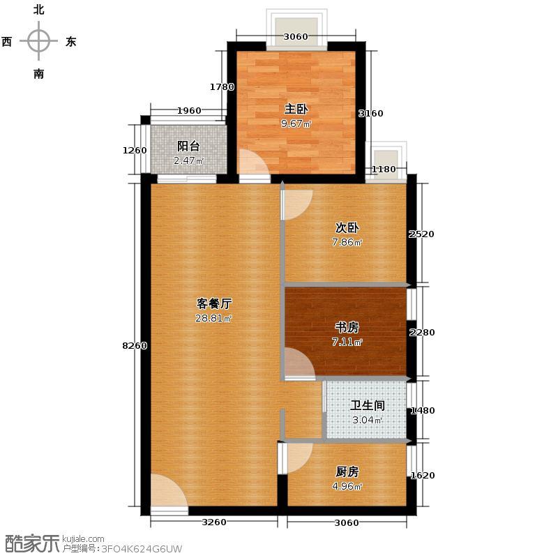 花果园88.34㎡五里冲E3户型3室1厅1卫1厨