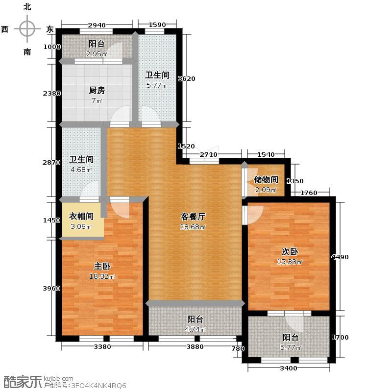 群力玫瑰湾81.91㎡D01-D02户型2室1厅2卫1厨
