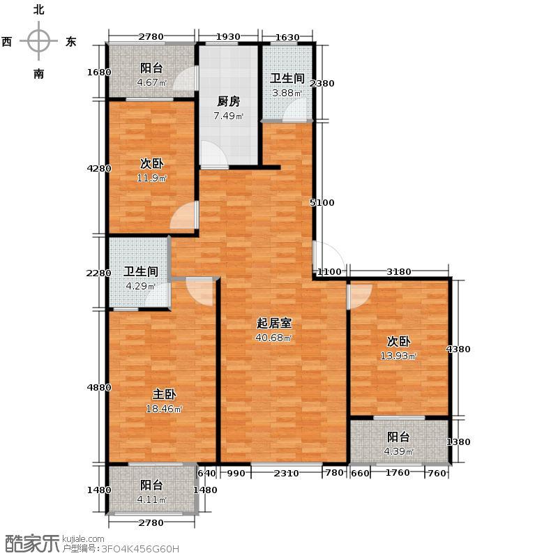 汇锦城164.68㎡天水丽城3#2单元0型D3室户型3室2卫1厨