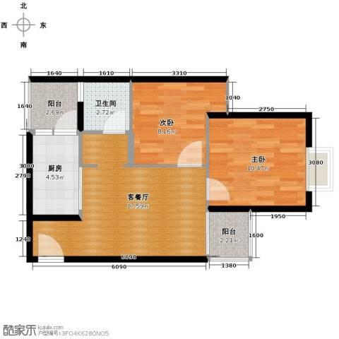 花果园2室1厅1卫1厨68.00㎡户型图