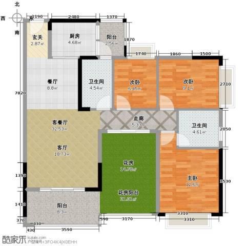 中惠金士柏山3室1厅2卫1厨137.00㎡户型图
