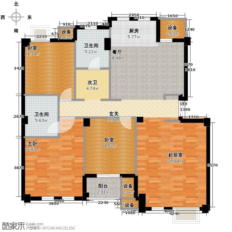 戈雅公寓132.28㎡户型1室2卫