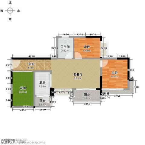 中惠金士柏山2室1厅1卫1厨91.00㎡户型图
