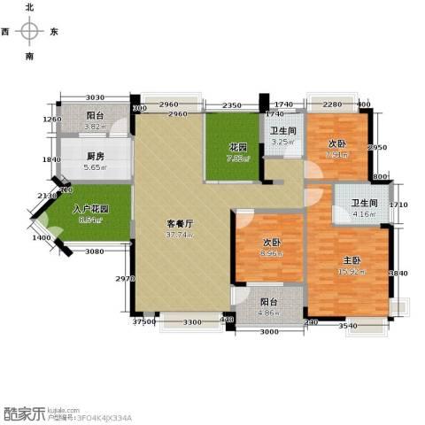 中惠金士柏山3室1厅2卫1厨150.00㎡户型图