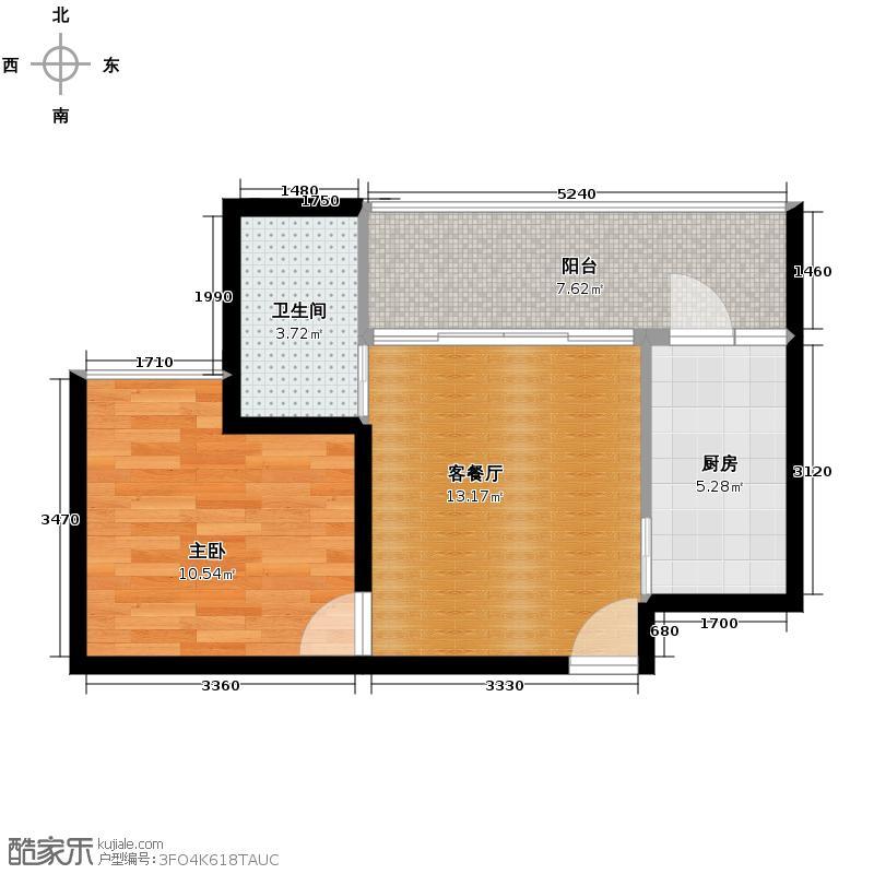 花果园49.75㎡五里冲C1户型1室1厅1卫1厨