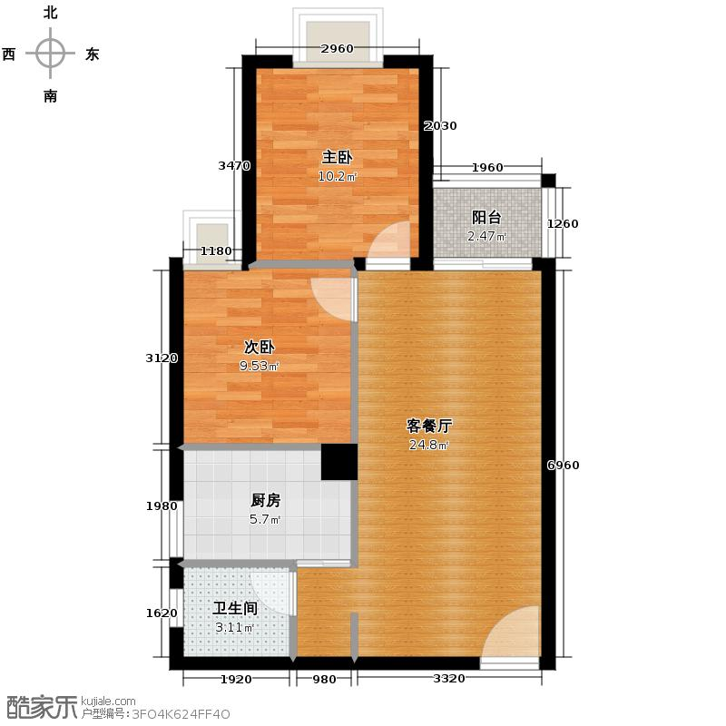 花果园77.50㎡五里冲B6户型2室1厅1卫1厨