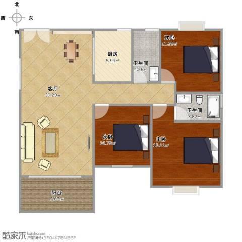 恒利・阳光新城3室1厅2卫1厨132.00㎡户型图