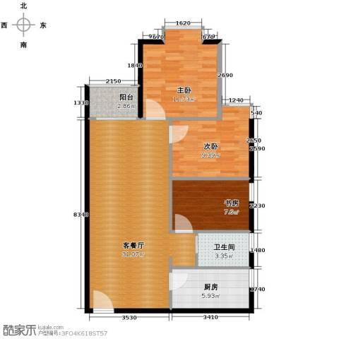 花果园3室1厅1卫1厨88.00㎡户型图