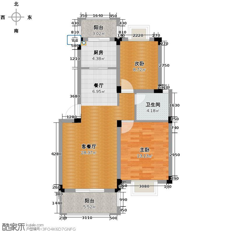 博威香槟小镇75.00㎡二阳台7945M2户型2室1厅1卫1厨