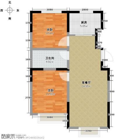 良品柏宏爱琴湾2室2厅1卫0厨77.00㎡户型图