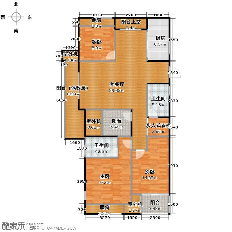 东田擎天半岛135.00㎡G户型3室1厅2卫1厨