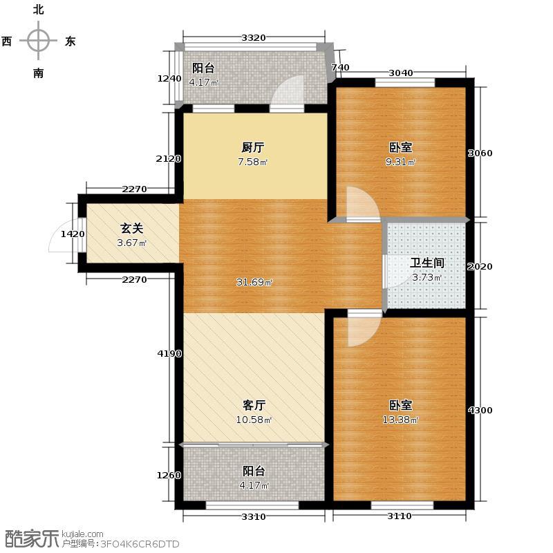 绿色新城二期嘉苑92.98㎡B户型2室1厅1卫