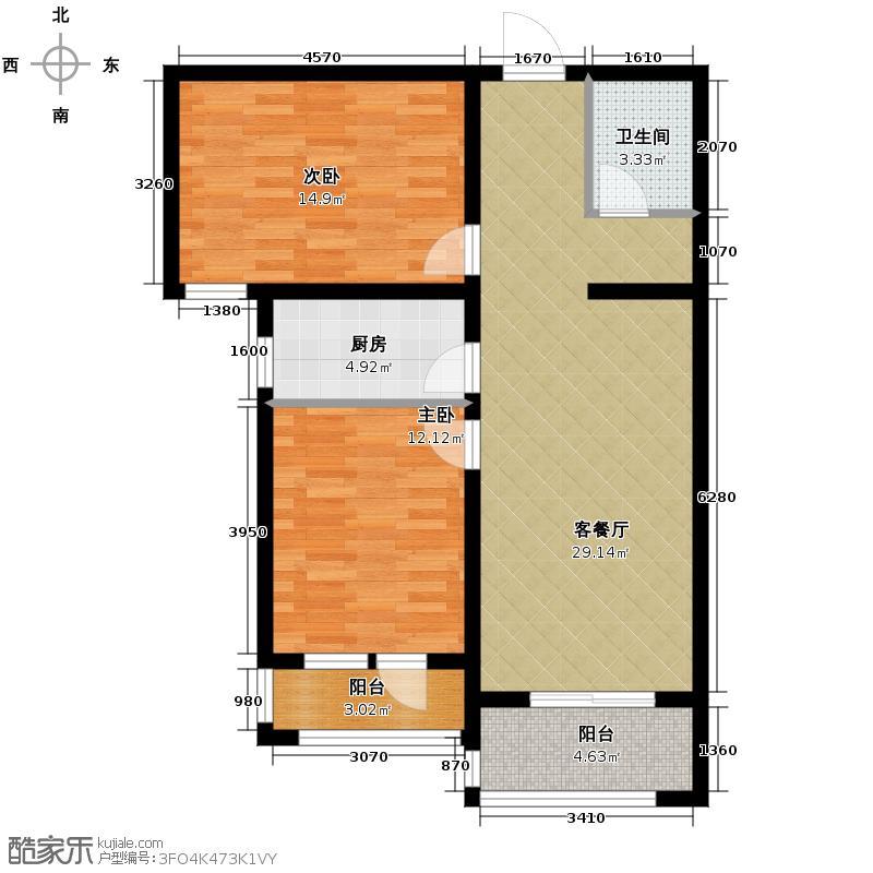 汇锦城103.38㎡世奥湾4号楼二单元户型2室1厅1卫1厨