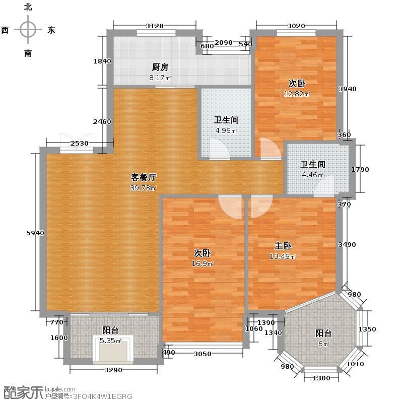 华城格之林花园137.00㎡户型3室1厅2卫1厨