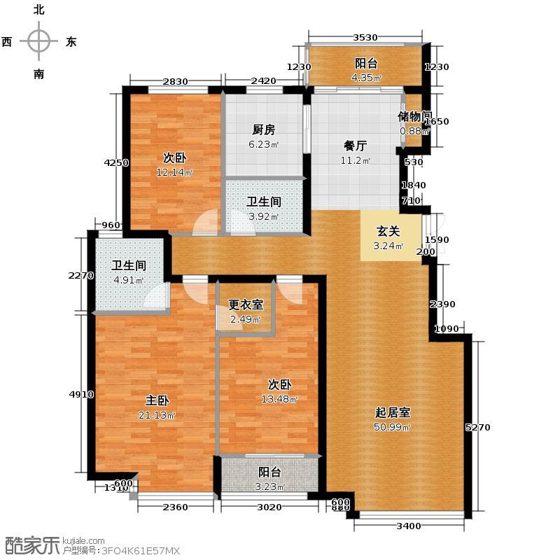 银丰花园130.00㎡12、12B号楼C5户型3室2卫1厨