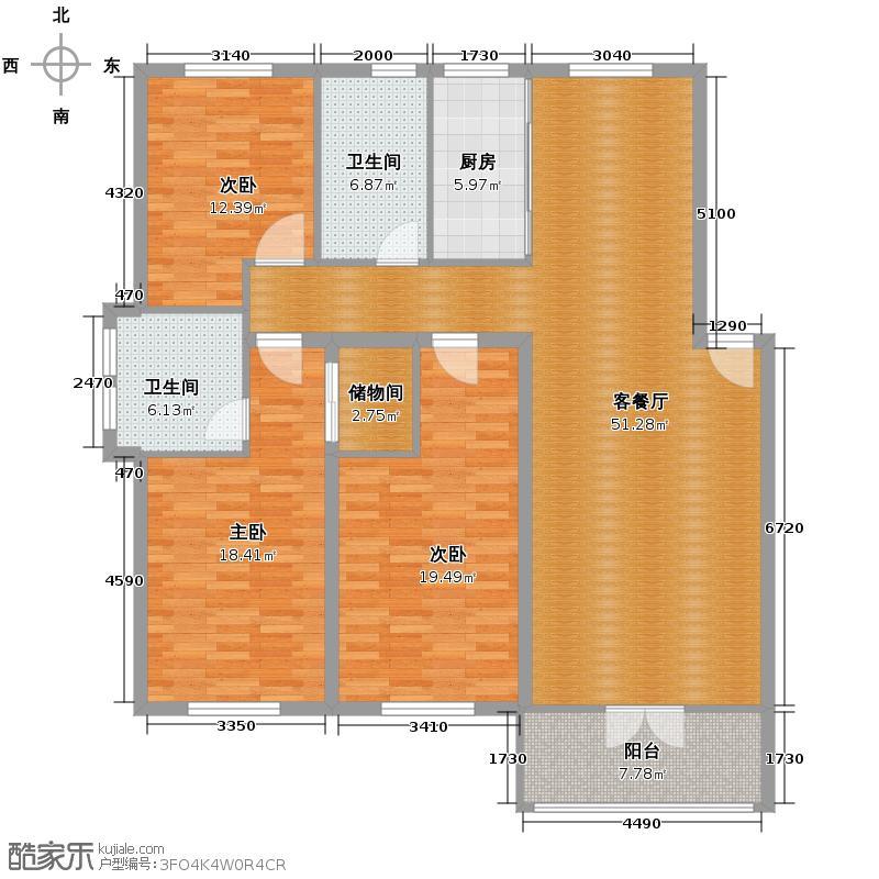金世纪星都家园145.60㎡金世纪·星都家园户型3室1厅2卫1厨