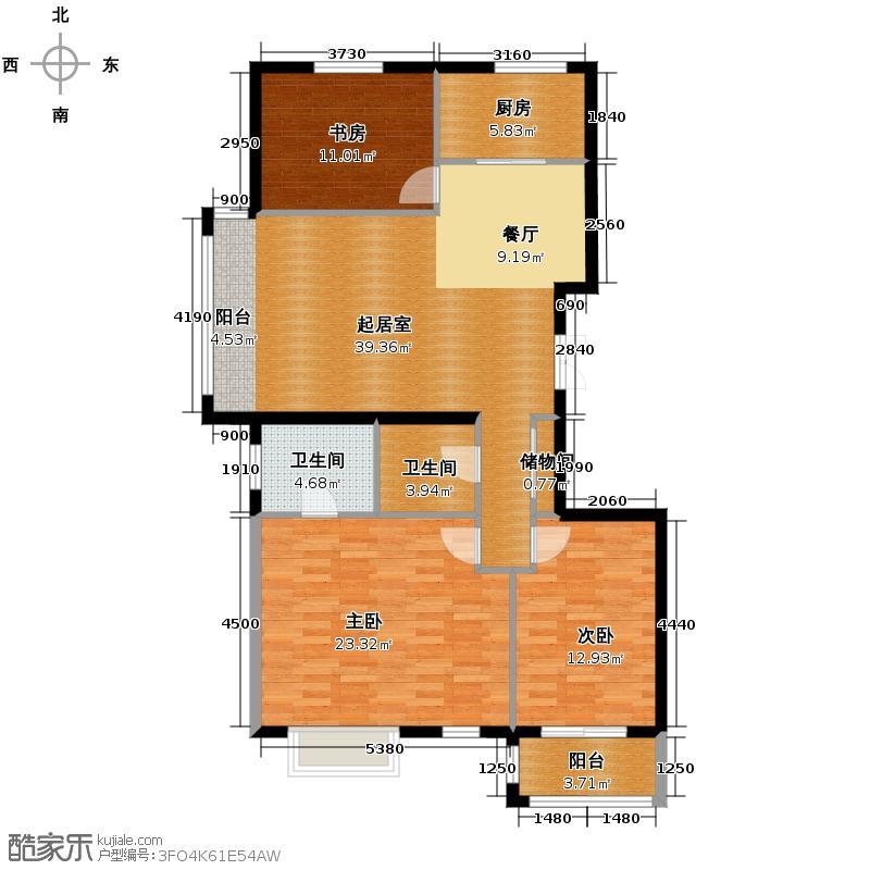 银丰花园115.00㎡12、18、19号楼C2户型3室2卫1厨