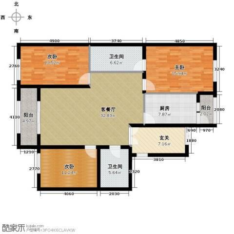 中山国际3室1厅2卫1厨153.00㎡户型图