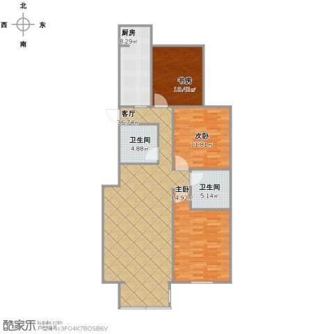 梨花江苑3室1厅2卫1厨124.00㎡户型图