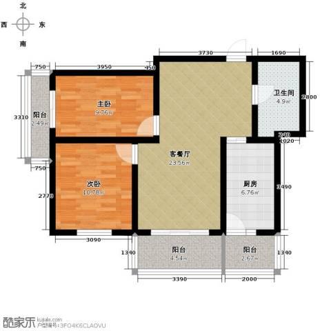 中山国际2室1厅1卫1厨96.00㎡户型图