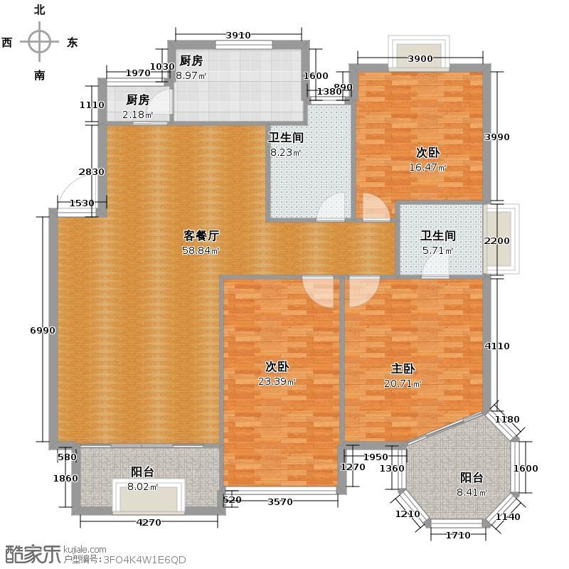 华城格之林花园138.00㎡户型3室1厅2卫2厨