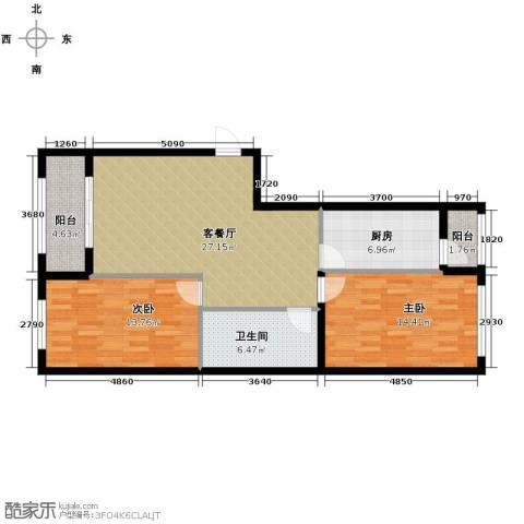 中山国际2室1厅1卫1厨106.00㎡户型图