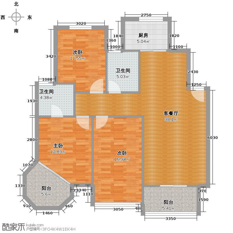 华城格之林花园116.01㎡户型3室1厅2卫1厨