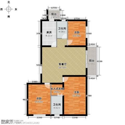 中山国际3室1厅2卫1厨154.00㎡户型图