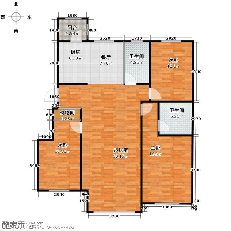 海富漫香林96.85㎡多层电梯洋房户型3室2厅2卫